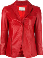 L'Autre Chose fitted jacket - women - Leather/Nylon - 40