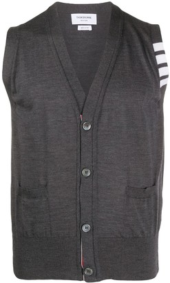Thom Browne 4-Bar sleeveless knitted cardigan