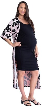 Angel Maternity Floral Maternity Duster (Black) Women's Clothing