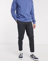 Asos DESIGN smart tapered pinstripe pants in navy