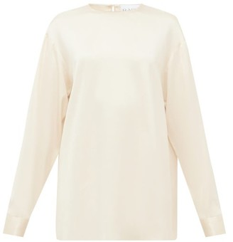 Raey Long-sleeved Silk-satin Blouse - Cream