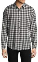Theory Checkered Cotton Button-Down Shirt