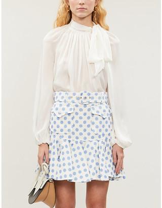 Zimmermann Super Eight polka-dot linen skirt