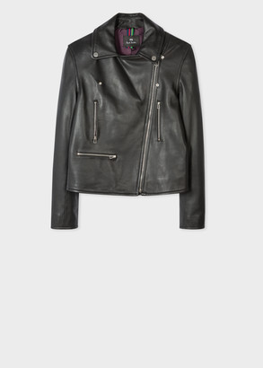 Paul Smith Women's Black Leather Biker Jacket With Perforated Sleeves