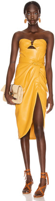Jonathan Simkhai Vegan Leather Bustier Dress in Honey | FWRD