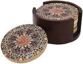 Thirstystone Coasters, Set of 4 Mosaic Coasters in Walnut Holder