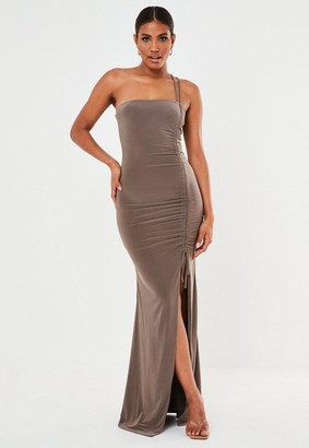 Missguided Brown Slinky Ruched Split Cami Maxi Dress