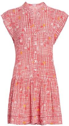 Poupette St Barth Amora Floral & Check Drop-Waist Mini Shirtdress