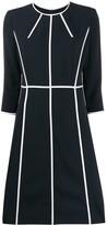 Escada 3/4 sleeves piped-stripes dress