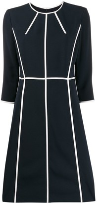 Escada 3/4 sleeves piped-stripes dress