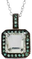 Tiara 4 2/5 CT TW Amethyst Rhodium-Plated Two-Tone Sterling Silver Halo Pendant