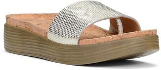 Donald J Pliner Fiji Low Wedge Leather Snakeskin Print Slide Sandal
