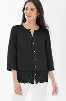 J. Jill Eyelet-Border Linen Shirt