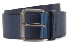 HUGO BOSS Tanned-leather belt with gunmetal roller buckle