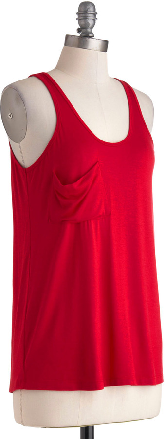 Downtown Boutique Tank in Ruby