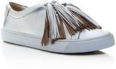 Loeffler Randall Logan Metallic Leather Lace Up Tassel Sneakers