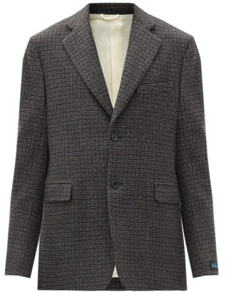 Raf Simons Oversized Checked Wool-blend Blazer - Black Brown