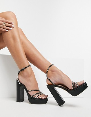 Public Desire Kehlani embellished platform sandals in black