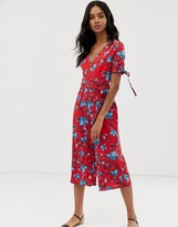 Qed London QED London floral wrap front jumpsuit with tie sleeve detail
