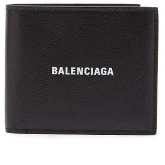 Balenciaga Logo-print Grained-leather Bi-fold Wallet - Mens - Black