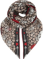 Alexander McQueen Skull and heart silk scarf