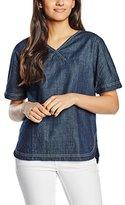 Benetton Women's Oversized Denim Short Sleeve Blouse