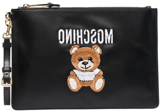 Moschino Embroidered Teddy Clutch Bag