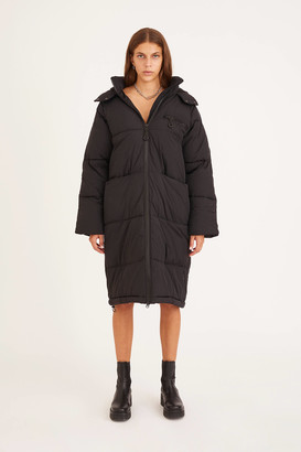Urban Outfitters Yumi Longline Hooded Puffer Jacket