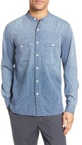 Current/Elliott Men's Topanga Stripe Band Collar Shirt