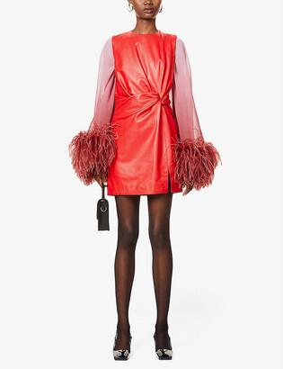 16Arlington Momo feather-trimmed leather mini dress
