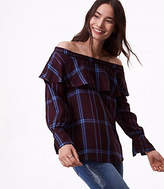 LOFT Petite Plaid Ruffle Off The Shoulder Top