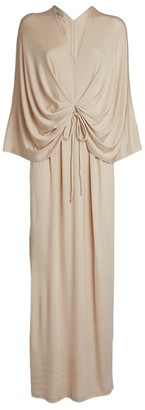 Mark Kenly Domino Tan Gathered Larisa Maxi Dress