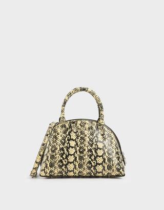 Charles & Keith Snake Print Top Handle Dome Bag