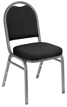 National Public Seating NPS 9200 Series Premium Fabric Upholstered Padded Stack Chair, Ebony Black/Silvervein (2 Pack)