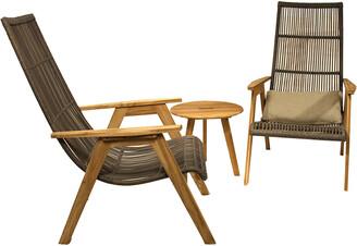 Outdoor Interiors 3Pc Teak & Wicker Basket Lounger Set