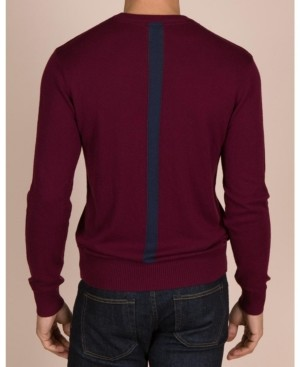 Hudson Mills Supply Men's Cashmere Blend Pullover Sweater with Colorblocked Stripe