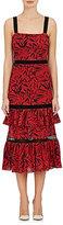 Prabal Gurung Women's Leaf-Print Cotton Sleeveless Maxi Dress-RED