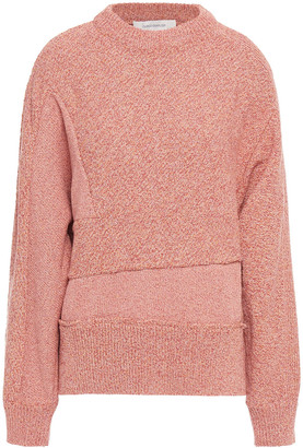 Cédric Charlier Paneled Marled Cotton-blend Sweater