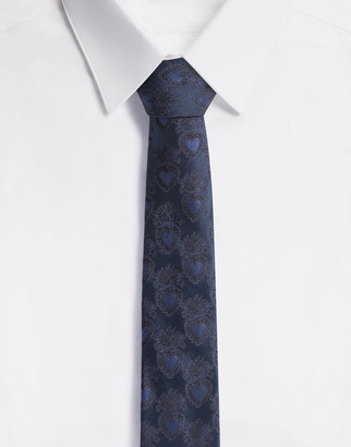 Dolce & Gabbana Silk Jacquard Blade Tie With Heart Design (6 Cm)