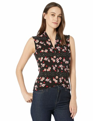 Nine West Women's Sleeveless V-Neck Printed ITY