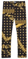 Young Versace Black and Gold Bolli Print Leggings
