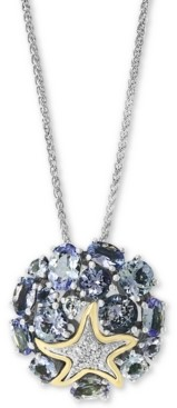 """Effy Tanzanite (4-1/2 ct. t.w.) & Diamond (1/20 ct. t.w.) 18"""" Pendant Necklace in Sterling Silver and 18k Gold Over Sterling Silver"""