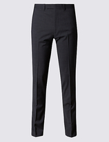 Limited Edition Charcoal Textured Modern Slim Fit Trousers