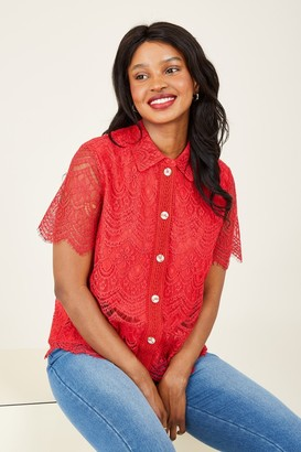 Yumi Red Lace Button Shirt