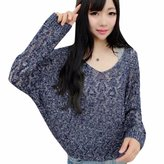 WINSON Women Long Sleeve Loose Thin Hollow Out V Neck Long-Sleeved Knitting Sweater