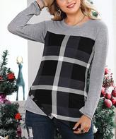 Reborn Collection Women's Tunics Gray - Gray & Charcoal Plaid Asymmetrical Tunic - Women & Plus