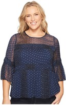 Lucky Brand Plus Size Shirred Peasant Top Women's Long Sleeve Pullover