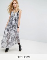 Reclaimed Vintage Inspired Sheer Maxi Dress In Leopard With Eyelet Trim