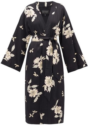 Etro Malva Floral-print Satin Coat - Black White