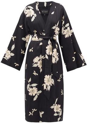 Etro Malva Floral-print Satin Coat - Womens - Black White